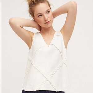 Anthropologie White Linen Cross Hatched Tank